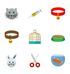 Flat icon pets set of bunny fishbowl vaccine and vector