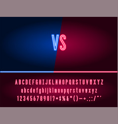 game versus screen with alphabet type to edit vector image