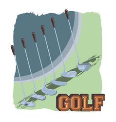Golf club label with set sticks vector