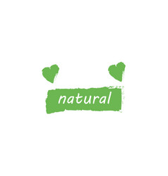 green natural and heart for logo healthy food vector image
