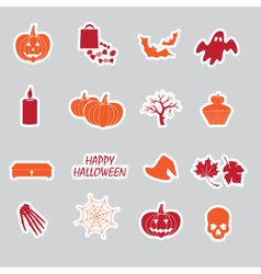halloween stickers set eps10 vector image