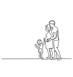 Happy pregnant woman with husband and son vector