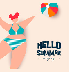 hello summer card girl playing beach sport vector image