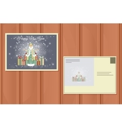 Holiday postcard of a cute snow maiden vector
