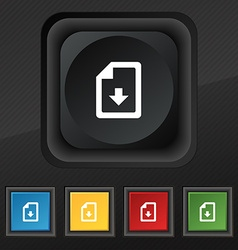 Import download file icon symbol Set of five vector