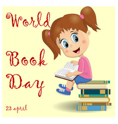 international childrens book day poster cute girl vector image