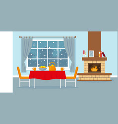living room with fireplace window and table vector image