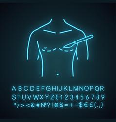 Male breast surgery neon light icon vector