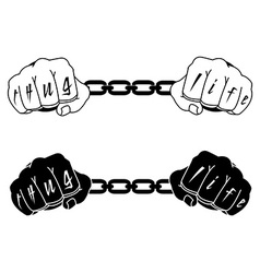 Male hands in steel handcuffs with Thug Life vector image