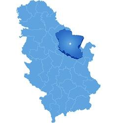 Map of Serbia Subdivision Branicevo District vector