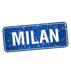 Milan blue stamp isolated on white background vector