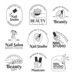 nail salon logo manicure and hand care cosmetic vector image