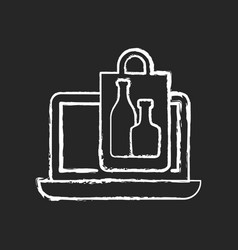 Online drinks ordering chalk white icon on black vector