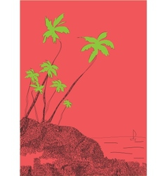 Palms and sun tropical Goa India vector image