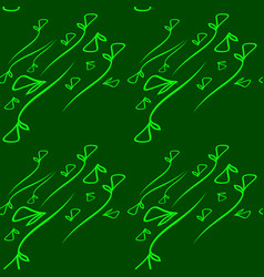 pattern of vegetative mint elements on a green vector image