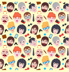 pattern with men faces vector image