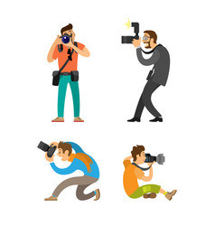 Photographing people set photographer paparazzi vector