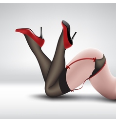 Pin-up in stockings and shoes vector