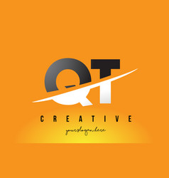 Qt q t letter modern logo design with yellow vector