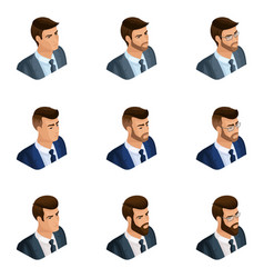 quality isometry a set of 3d avatar business men vector image