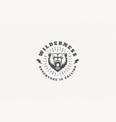 quote typography with hand drawn angry bear head vector image