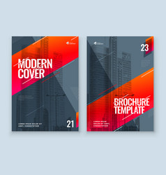 Red brochure design a4 cover template for vector