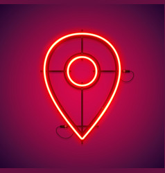 Red neon map pointer symbol vector