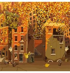 ruined city in the autumn leaf fall vector image