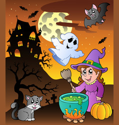 Scene with halloween theme 1 vector