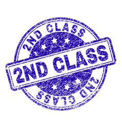 Scratched textured 2nd class stamp seal vector
