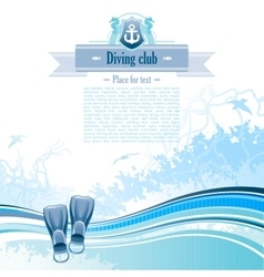 Sea background in blue colors with net foam and vector image