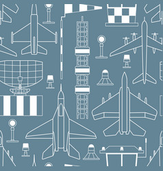 seamless pattern with military airplanes on gray vector image