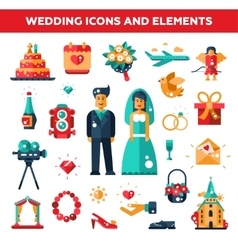 Set flat design wedding and marriage icons vector