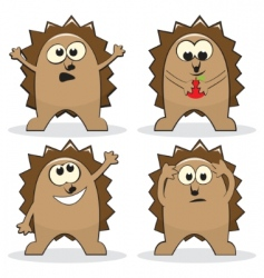 set of four cartoon hedgehogs vector image