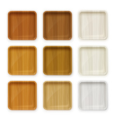 Set wooden plate for sushi vector