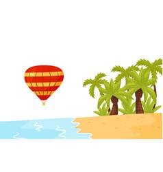 shore of tropical island air balloon in the air vector image