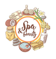 spa wellness beauty hand drawn background vector image
