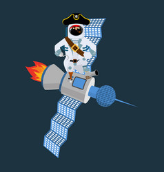 Space pirate on satellite filibuster spaceman vector
