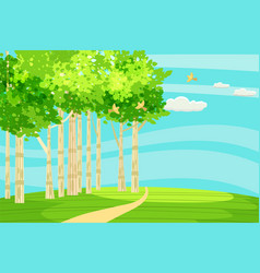 Spring green landscape at the edge of the forest vector