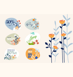 spring sale labels collection vector image