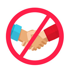 Stop hand shake sign not to spread infection virus vector