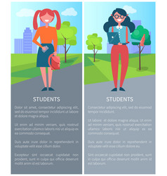Students on background of city description girls vector