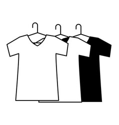 T shirts on hangers clothes cartoon in black and vector