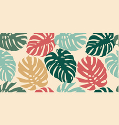 tropical seamless pattern with abstract leaves vector image