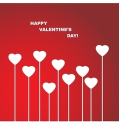 Valentines Day Heart Flowers on Red Background vector image