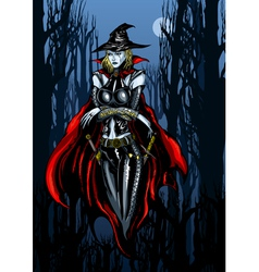 Witch in a dreary October vector image