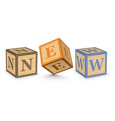 Word NEW written with alphabet blocks vector
