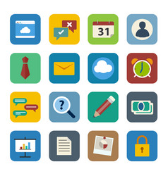 business icons set flat design for web and mobile vector image
