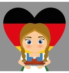 Girl cartoon costume traditional heart flag icon vector