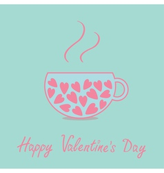 Love teacup with pink hearts Valentines Day vector image vector image